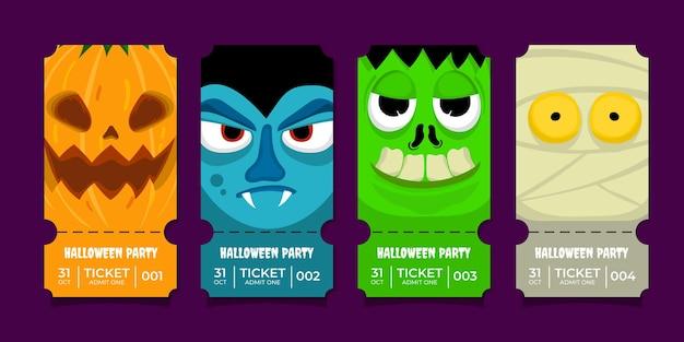 Halloween-party-tickets sammlung flaches design vampir kürbis mumie
