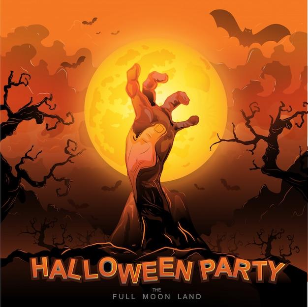 Halloween-party-vektor-konzept-vollmondland