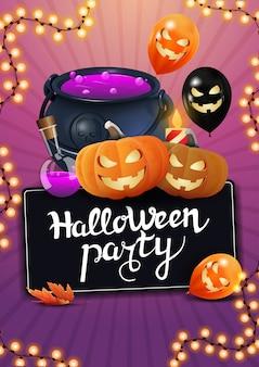 Halloween-party, vertikales plakat mit hexenkessel, halloween-ballons, girlande und kürbis jack