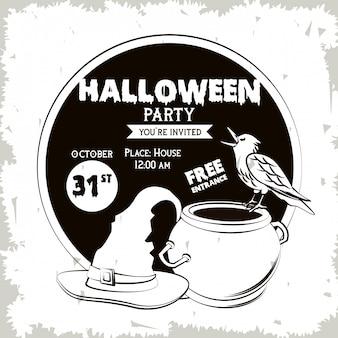 Halloween-partyeinladungskarte in schwarzweiss