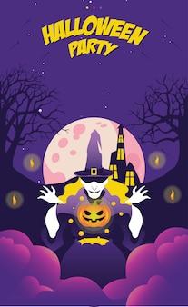 Halloween-partyfahne mit hexen- und kürbiseinladung