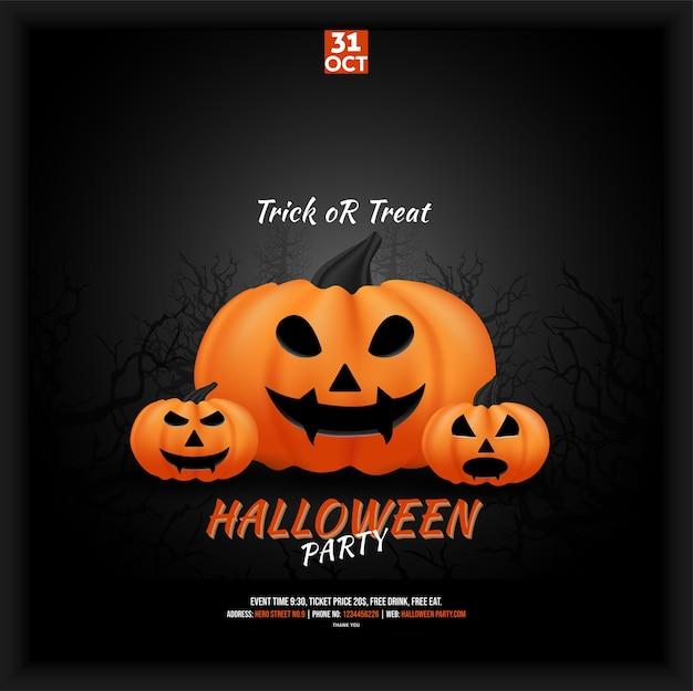 Halloween-partyfeier-social-media-plakat-flyer mit spukwald-hintergrund Premium Vektoren