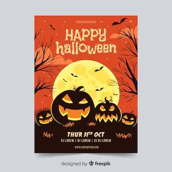 Halloween-partyfliegerschablone im flachen design