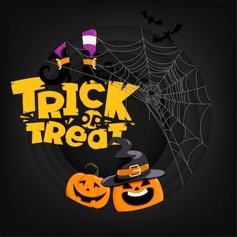 Halloween-partykarte mit beschriftungsbeschreibung. süßes oder saures