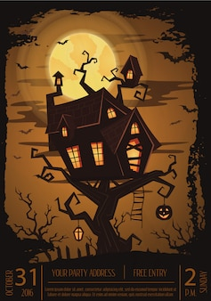 Halloween-partyplakat mit gespenstischem schloss