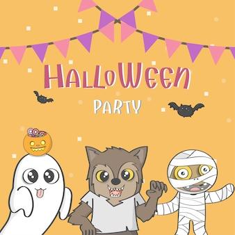 Halloween-partyplakat mit gruppe des netten halloween-kostüms. vektor und illustration
