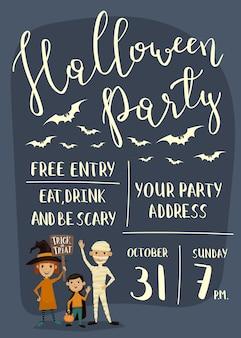 Halloween-partyplakat mit kindern
