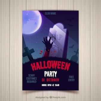 Halloween-partyplakat mit zombie auf dem friedhof