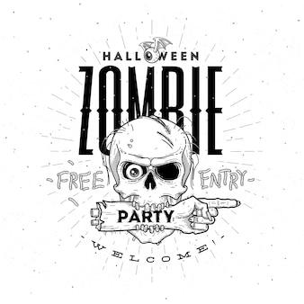 Halloween-partyplakat mit zombiekopf und handlinienkunstillustration
