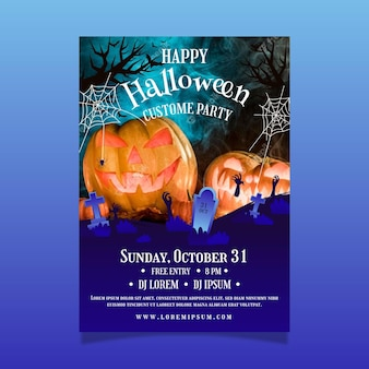 Halloween-partyplakatschablone mit farbverlauf mit foto