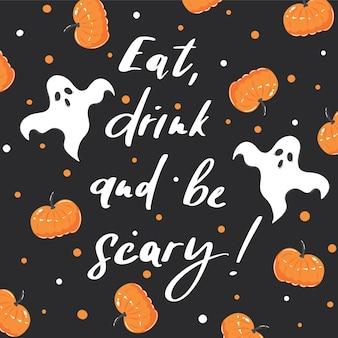 Halloween-plakat handgezeichnete geister und orangefarbene kürbisse auf schwarzem hintergrund
