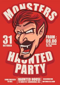 Halloween-plakat mit dracula und grinsendem grinsen