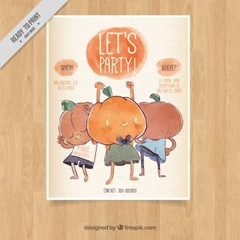 Halloween-plakat mit kürbissen tanzen