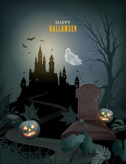 Halloween-plakat mit schlossschattenbildkürbis