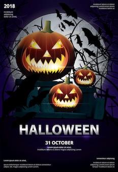 Halloween-plakat-schablonen-design-vektor-illustration