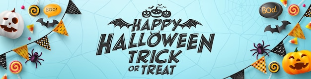 Halloween-plakat und fahnenschablone mit halloween-element