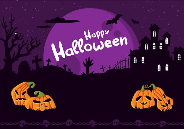 Halloween-plakatschablone gruseliger partyeinladungsflyer mit horrorsymbolkürbis auf dunklem friedhof