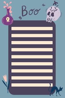 Halloween planer-vorlage zu tun. hand zeichnen symbole von halloween. vorlage für agenda, zeitplan, planer, checklisten, notizbücher, karten und anderes briefpapier. cartoon-vektor-illustration.