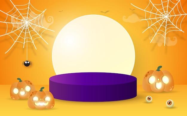 Halloween-podest für produktpräsentationskonzept standshow und vitrine mit kürbisbeet