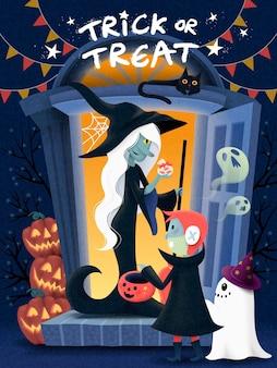 Halloween-poster-design, ein kind, das ein monsterkostüm trägt und das hexenhaus für süßigkeiten, kürbis und gruselige elemente besucht