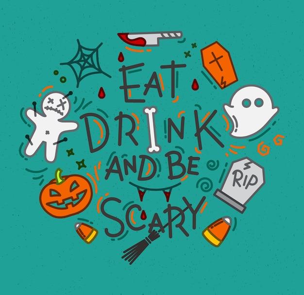 Halloween poster flach türkis