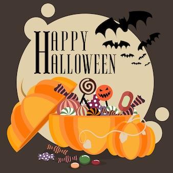 Halloween poster kürbis mit leckereien