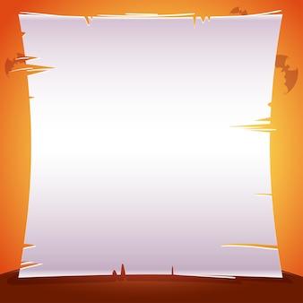 Halloween-poster mit blatt papier, pergament, textplatz auf orangem hintergrund mit fledermäusen. vektorillustration für poster, banner, einladungen, werbung, flyer. vektor-illustration.