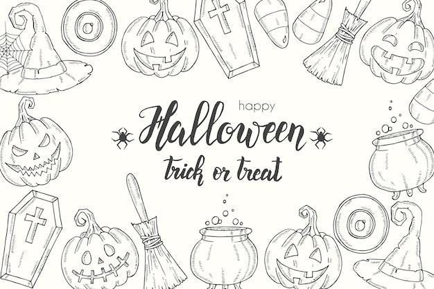 Halloween-poster mit handgezeichnetem kürbis jack, hexenhut, besen, hut, süßigkeiten, süßigkeitswurzeln, sarg, topf mit trank'' trick or treat