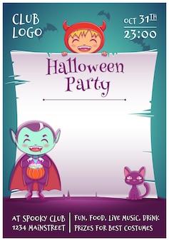 Halloween-poster mit kleinen kindern in kostümen von teufel und vampir mit schwarzem kätzchen. bearbeitbare vorlage mit textraum. für poster, banner, flyer, einladungen, postkarten.
