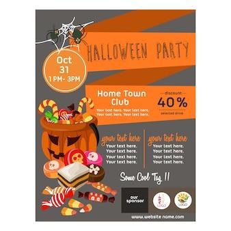 Halloween-poster mit süßigkeiten behandelt