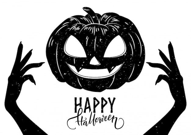 Halloween-postkarte mit den gruseligen händen, furchtsamem kürbis und kalligraphietext, vektorillustration