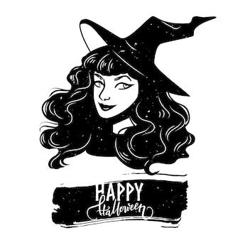 Halloween-postkarte mit hexenfrau und kalligraphietext