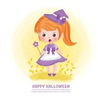 Halloween-postkarte mit niedlicher hexe.