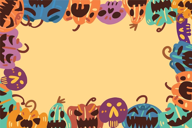 Halloween rahmen gezeichnetes konzept