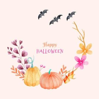 Halloween-rahmen kürbisse und blumen