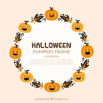 Halloween rahmen mit kürbissen und blätter