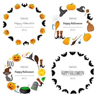 Halloween-rahmensatz für ihren text mit traditionellen attributen. cartoon-stil. illustration.