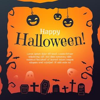 Halloween-rahmenschablone mit farbverlauf
