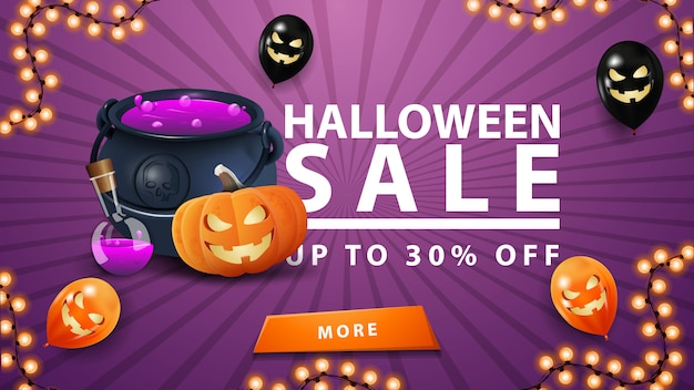 Halloween sale, bis zu 30% rabatt, lila banner mit knopf, halloween-luftballons, hexenkessel und kürbis jack