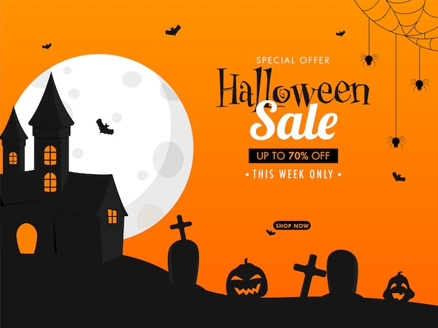 Halloween sale poster design mit 70% rabatt angebot,