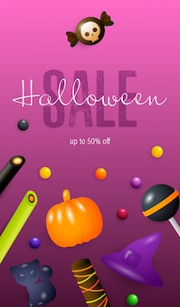 Halloween sale schriftzug, süßigkeiten und bonbons