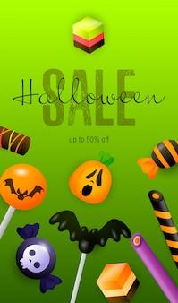 Halloween sale schriftzug und süßwaren