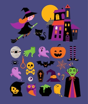 Halloween - sammlung von niedlichen vektorikonen