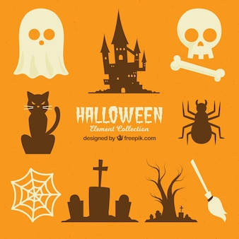 Halloween sammlung von silhouetten