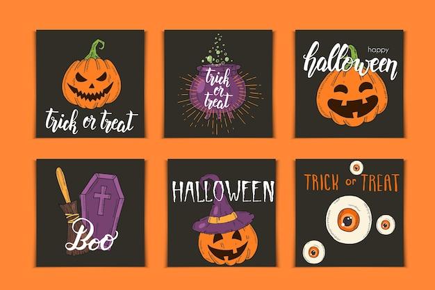 Halloween-satz von einladungskarten mit handgezeichneten ikonen und beschriftung. kürbis jack, hexenhut, besen, hut, süßigkeiten, süßigkeitenwurzeln, sarg, topf mit trank im skizzenstil.