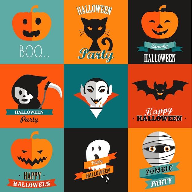 Halloween-satz von grußkarten