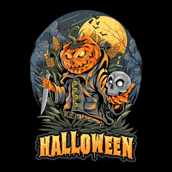 Halloween scarecrow, skull head und pumpkins artwork