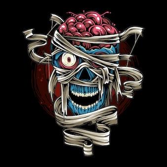 Halloween-schädel-mumie mit gruseligem verband als design für halloween-tagesvektor