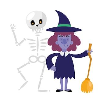 Halloween-schädel und hexenkarikatur, frohe feiertage und unheimlich