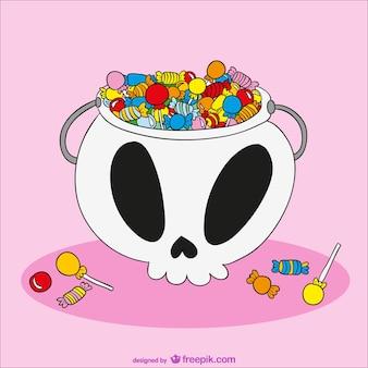 Halloween-schädel voller süßigkeiten